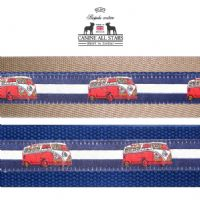 MARTINGALE DOG COLLAR - RETRO VW CAMPER VAN RED ON NAVY BLUE AND WHITE STRIPES